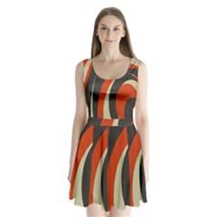 Mixing Gray Orange Circles Split Back Mini Dress