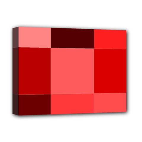 Red Flag Plaid Deluxe Canvas 16  x 12