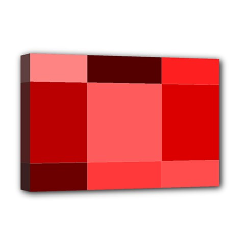 Red Flag Plaid Deluxe Canvas 18  x 12
