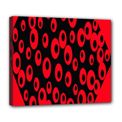 Scatter Shapes Large Circle Black Red Plaid Triangle Deluxe Canvas 24  X 20
