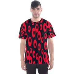 Scatter Shapes Large Circle Black Red Plaid Triangle Men s Sport Mesh Tee