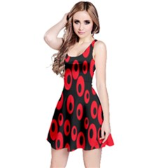 Scatter Shapes Large Circle Black Red Plaid Triangle Reversible Sleeveless Dress