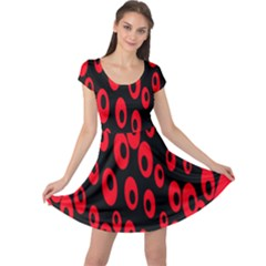 Scatter Shapes Large Circle Black Red Plaid Triangle Cap Sleeve Dresses