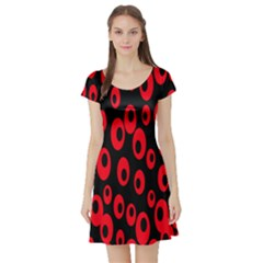 Scatter Shapes Large Circle Black Red Plaid Triangle Short Sleeve Skater Dress