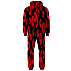Scatter Shapes Large Circle Black Red Plaid Triangle Hooded Jumpsuit (Men)