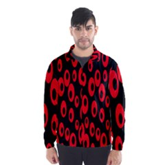 Scatter Shapes Large Circle Black Red Plaid Triangle Wind Breaker (Men)