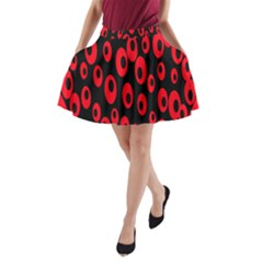 Scatter Shapes Large Circle Black Red Plaid Triangle A Line Pocket Skirt