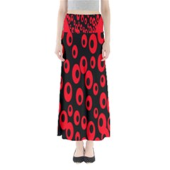 Scatter Shapes Large Circle Black Red Plaid Triangle Maxi Skirts