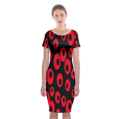 Scatter Shapes Large Circle Black Red Plaid Triangle Classic Short Sleeve Midi Dress