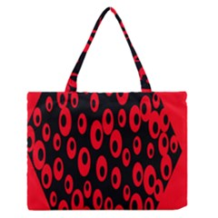 Scatter Shapes Large Circle Black Red Plaid Triangle Medium Zipper Tote Bag