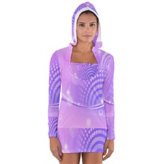 Purple Circle Line Light Women s Long Sleeve Hooded T-shirt