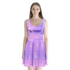 Purple Circle Line Light Split Back Mini Dress