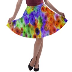 Green Jellyfish Yellow Pink Red Blue Rainbow Sea Purple A-line Skater Skirt