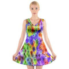 Green Jellyfish Yellow Pink Red Blue Rainbow Sea Purple V-Neck Sleeveless Skater Dress