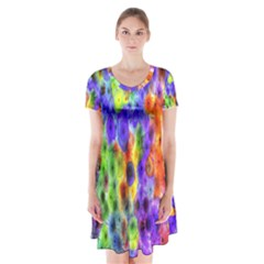 Green Jellyfish Yellow Pink Red Blue Rainbow Sea Purple Short Sleeve V-neck Flare Dress