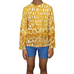 Honeycomb Fine Honey Yellow Sweet Kids  Long Sleeve Swimwear
