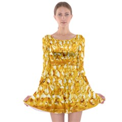 Honeycomb Fine Honey Yellow Sweet Long Sleeve Skater Dress