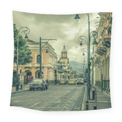 Historic Center Urban Scene At Riobamba City, Ecuador Square Tapestry (large)