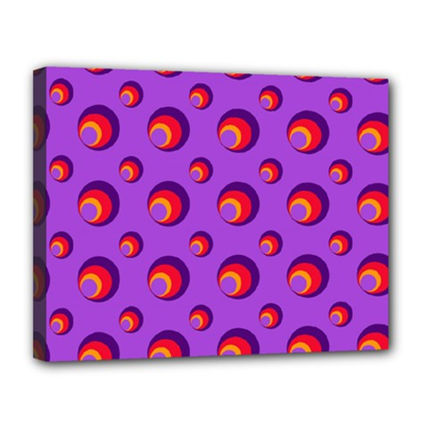 Scatter Shapes Large Circle Red Orange Yellow Circles Bright Canvas 14  x 11