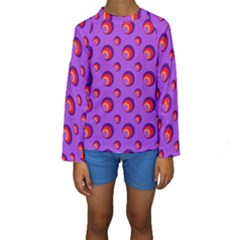 Scatter Shapes Large Circle Red Orange Yellow Circles Bright Kids  Long Sleeve Swimwear