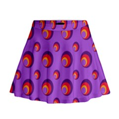 Scatter Shapes Large Circle Red Orange Yellow Circles Bright Mini Flare Skirt