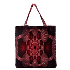 Lines Circles Red Shadow Grocery Tote Bag