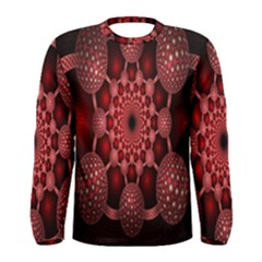 Lines Circles Red Shadow Men s Long Sleeve Tee