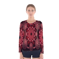 Lines Circles Red Shadow Women s Long Sleeve Tee