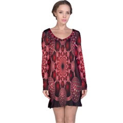 Lines Circles Red Shadow Long Sleeve Nightdress