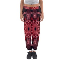 Lines Circles Red Shadow Women s Jogger Sweatpants