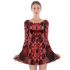 Lines Circles Red Shadow Long Sleeve Skater Dress