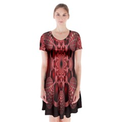 Lines Circles Red Shadow Short Sleeve V-neck Flare Dress