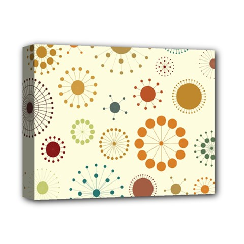 Seamless Floral Flower Orange Red Green Blue Circle Deluxe Canvas 14  x 11