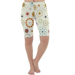 Seamless Floral Flower Orange Red Green Blue Circle Cropped Leggings