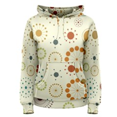 Seamless Floral Flower Orange Red Green Blue Circle Women s Pullover Hoodie