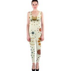 Seamless Floral Flower Orange Red Green Blue Circle OnePiece Catsuit