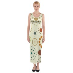 Seamless Floral Flower Orange Red Green Blue Circle Fitted Maxi Dress