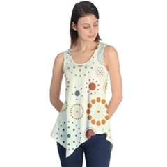 Seamless Floral Flower Orange Red Green Blue Circle Sleeveless Tunic