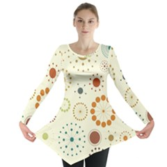 Seamless Floral Flower Orange Red Green Blue Circle Long Sleeve Tunic