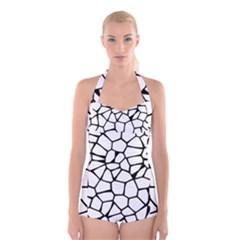 Seamless Cobblestone Texture Specular Opengameart Black White Boyleg Halter Swimsuit