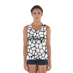 Seamless Cobblestone Texture Specular Opengameart Black White Women s Sport Tank Top