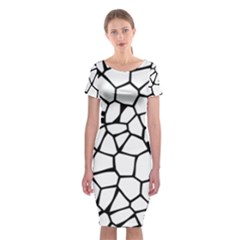 Seamless Cobblestone Texture Specular Opengameart Black White Classic Short Sleeve Midi Dress