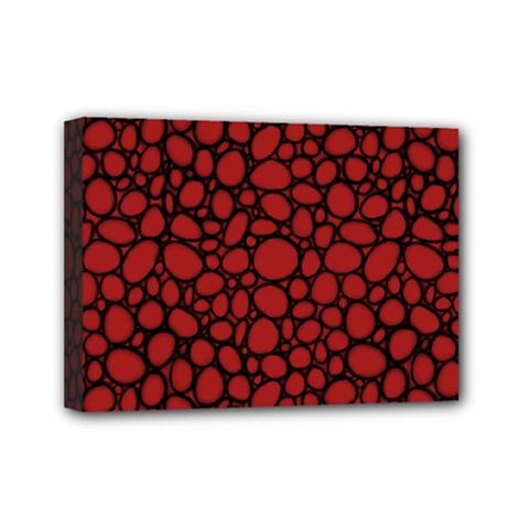 Tile Circles Large Red Stone Mini Canvas 7  x 5