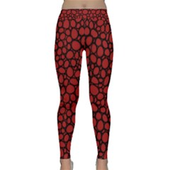 Tile Circles Large Red Stone Classic Yoga Leggings