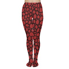 Tile Circles Large Red Stone Women s Tights