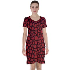 Tile Circles Large Red Stone Short Sleeve Nightdress
