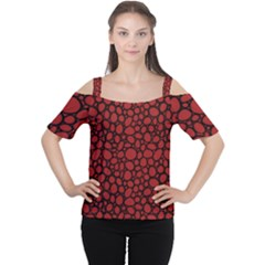 Tile Circles Large Red Stone Women s Cutout Shoulder Tee