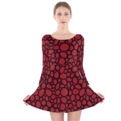 Tile Circles Large Red Stone Long Sleeve Velvet Skater Dress