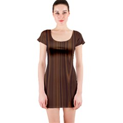 Texture Seamless Wood Brown Short Sleeve Bodycon Dress