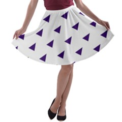 Triangle Purple Blue White A-line Skater Skirt